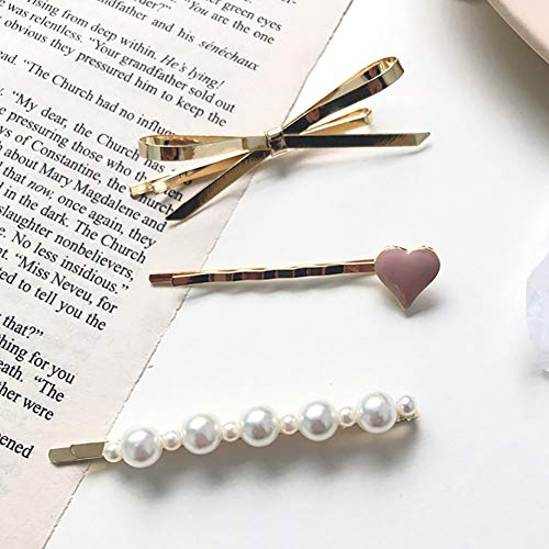 Set of 3 Alloy Hair Pins Hair Accessories, Bowknot, Heart, Pearls, Hair Decoration Hair Ornament, for Girls Women Sweeties Gift