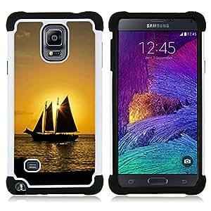 - Sunset Ship Beautiful Nature 10/ H??brido 3in1 Deluxe Impreso duro Soft Alto Impacto caja de la armadura Defender - SHIMIN CAO - For Samsung Galaxy Note 4 SM-N910 N910
