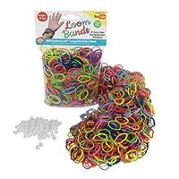 Bandas de caucho para telares - Paquete de valor de variedad de recarga de bandas de caucho 1000 con clips (Rainbow Colors) - 100% compatible con todos los telares