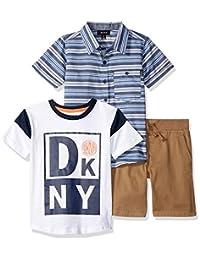 DKNY - Conjunto de Playera y pantalón Corto de Sarga para niños