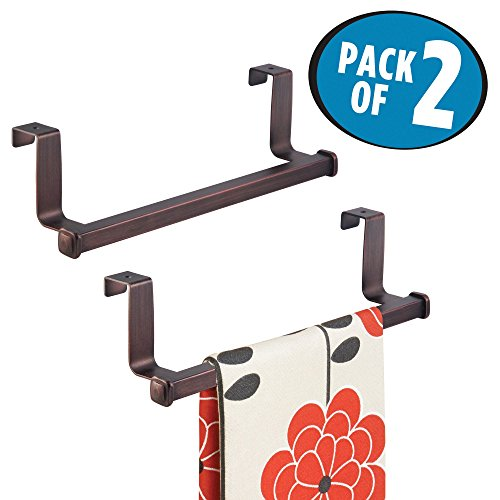 mDesign Over-the-Cabinet Towel Bar for Kitchens or Bathrooms - Pack of 2, Bronze by mDesign