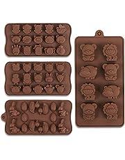 Cozihom Chokladformar av silikon i djurform, livsmedelskvalitet, för choklad, godis, isbitar, hundgodis, 4 stycken