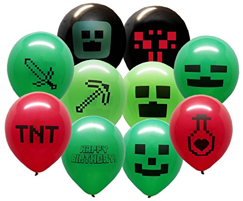 25 Pixel Style Miner Party Balloon Pack - Large 12'' Latex Balloons by Jade's Party Packs (Image #6)