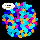 200 PCS Glow in the Dark Garden Pebbles for Walkway Yard and Decor DIY Decorative Gravel Stone in Mix Color