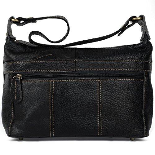 Ladies Black Cowhide (YALUXE Women's Cowhide Genuine Leather Small Cross Body Shoulder Bag Vintage Style)
