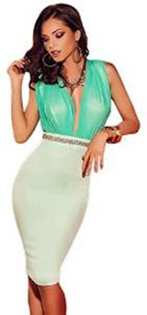 Ladies white and green bodycon midi dress club wear clothing pole dancer size 8 10