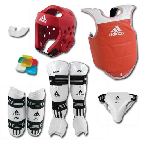 ADIDAS COMPLETE TAEKWONDO SPARRING GEAR SET WITH SHIN INSTEP - RED - adult-large by adidas