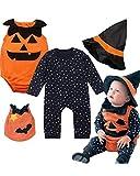 Baby Toddler Halloween Costume Pumpkin 3 Piece Long Sleeve Romper Cutie Costume For Babies