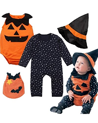 Cuties Oranges Halloween Costume (Baby Toddler Halloween Costume Pumpkin 3 Piece Long Sleeve Romper Cutie Costume For Babies)