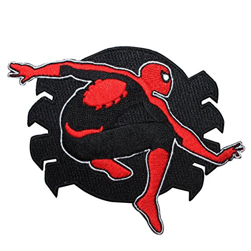 (Classic Spider-Man Logo Red & Black Marvel Superhero Iron On Applique Patch)