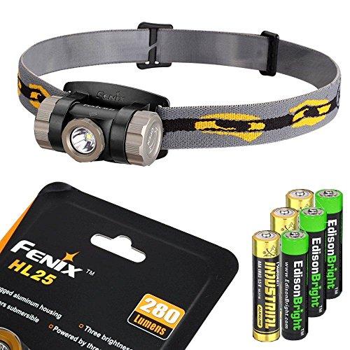 (Fenix HL25 280 Lumen light weight CREE XP-G2 R5 LED Headlamp (Cadet Grey color) with 3 X EdisonBright AAA alkaline batteries bundle)