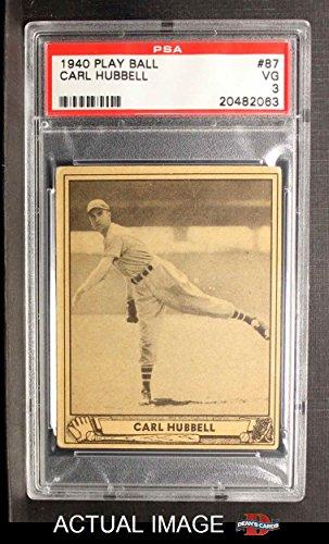 (1940 Play Ball # 87 Carl Hubbell New York Giants (Baseball Card) PSA 3 - VG Giants )