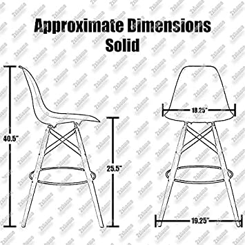 2xhome Set of 2 White 25 Seat Height Stool Chair Style DSW Molded Plastic Bar Stool Modern Barstool Counter Stools with Back Armless Natural Legs Wood Eiffel Dowel Mid Century