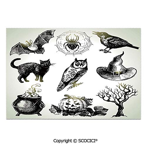 SCOCICI Place Mats Set of 6 Personalized Printed Non-Slip Table Mats Halloween Related Pictures Drawn by Hand Raven Owl Spider Black Cat Decorative for Dining Room Kitchen Table Decor]()