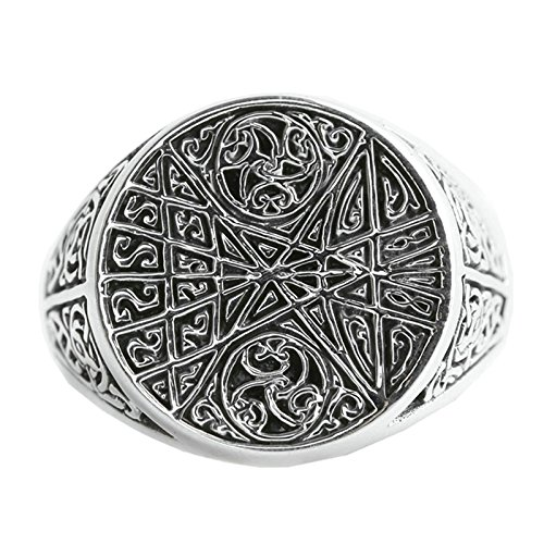 Beydodo Mens Silver Ring, Flower Vine Round Ring Size 7.5 Silver Ring for Men Hip Hop by Beydodo