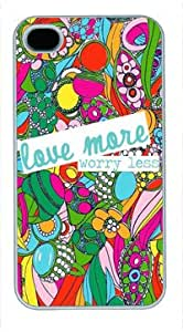 Art White Plastic Case for iPhone 4 Generation Back Cover Case for iPhone 4S with Love More