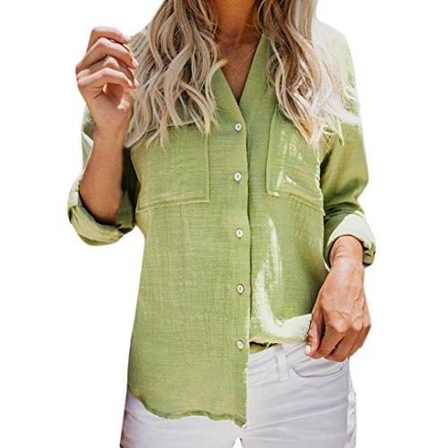 (Women Button Down Linen Long Sleeve Tops Cotton Casual Solid Shirt Blouse Green)