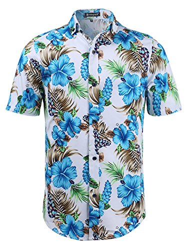 - uxcell Men Slim Fit Floral Print Short Sleeve Button Down Beach Hawaiian Casual Aloha Shirt White-Turquoise Floral Print L (US 42)