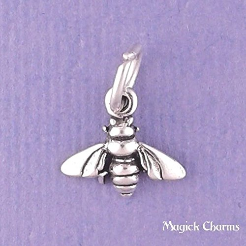Bee Charms Baby (925 Sterling Silver BEE Charm Small Miniature Jewelry Making Supply, Pendant, Charms, Bracelet, DIY Crafting by Wholesale Charms)