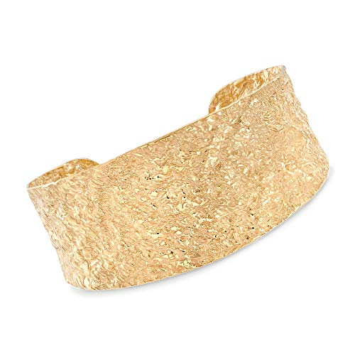 - Ross-Simons Italian 18kt Yellow Gold Over Sterling Silver Hammered Cuff Bracelet