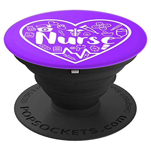 Nurse Pride Heart Rhythm Line Medical Tools Purple And White - PopSockets Grip and Stand for Phones and Tablets