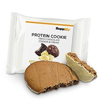 buy online f3bce 59327 Protein Cookies nur 155 kcal Triple Chocolate Cookies and Cream wie  Proteinriegel mit Whey Eiweiß 24x