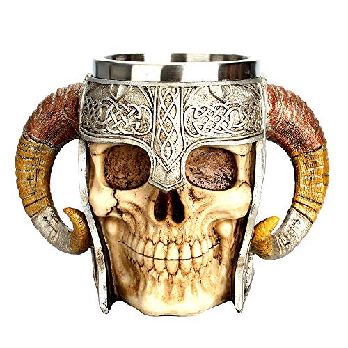Clearance Sale!DEESEE(TM)Coffee Mug Resin Striking Warrior Tankard Viking Skull Double Wall Christmas Cup]()