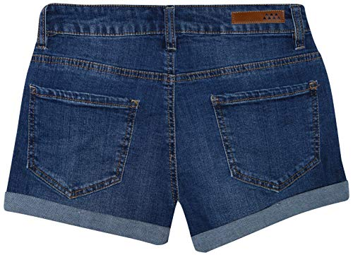 dollhouse Women\'s High Waisted Denim Shorts with Exposed Buttons, Dark, Size 13'