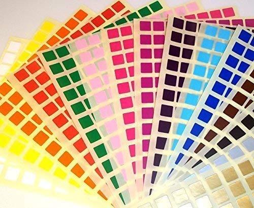 Audioprint Ltd 10mm Cuadrados Codigo de Color Id Puntos en Blanco Precio Pegatinas Etiquetas - Variado, 1