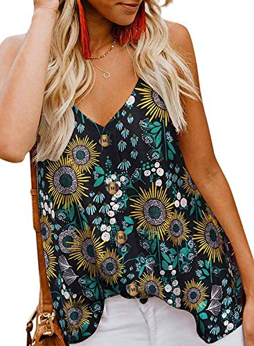 FARYSAYS Women's Summer Sleeveless Flower Printed V Neck Button Down Tank Tops Casual Loose Cami Shirts Black Small