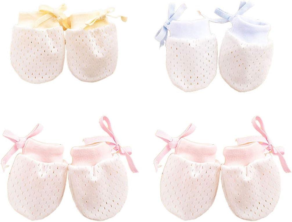 SUPVOX 4 Pair Baby Gloves No Scratch Mittens Adjustable Anti Scratch Cotton Gloves Mittens for Infant Toddler Boys Girls, Pink, Blue, Yellow, 10 x 7.5 x 1cm