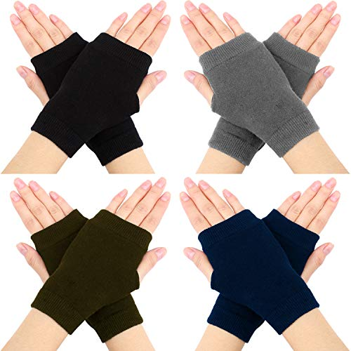 Coobey 4 Pairs Womens Fingerless Warm Gloves Crochet Thumbhole Cozy Arm Warmers Gloves (4 Colors) (Women Hand Warmer)