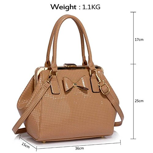 Cws00258b Faux High Bow Hot Trendy Leather Ladies Quality Cute Hnadbag Selling Girl's CWS00258 Tote Bag nude Women's qZ40X4