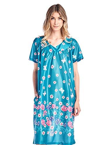 Casual Nights Women's Short Sleeve Muumuu Lounger Dress - Green - Small