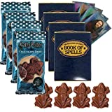 Jelly Belly Harry Potter Chocolate Frog Bundle, 4x Chocolate Frog Candies, 4x Wizard Trading Cards, 4x Wizard Book of Spells Cardboard Gift Boxes