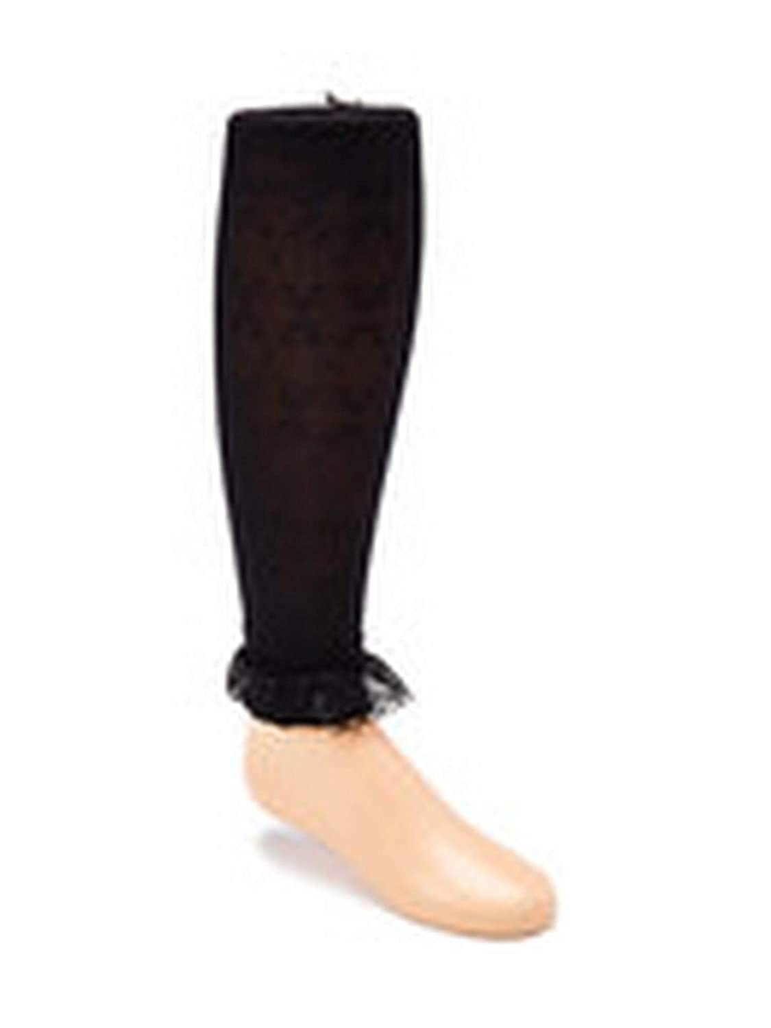 Wenchoice Big Girls Black Solid Color Ruffle Lace Ankle Trim Tights 8-15