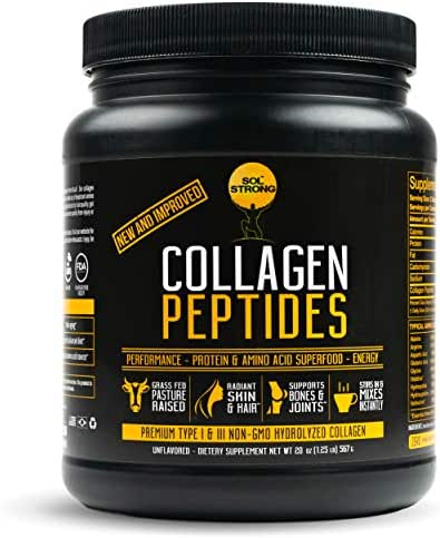 Sol Strong Premium Collagen Peptides Powder | Easy Mix & Unflavored | Pasture-Raised, Non-GMO & Grass-Fed | Hydrolyzed Collagen Peptides, Gluten-Free | Certified Paleo, Keto & Whole 30 Friendly | 20oz
