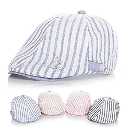 80ead5dceee Buy Generic blue, 0 to 2T : New British style Cotton and Linen Baby Hats  Handsome Striped kids Cap Beret Baby Boy girls Accessories for 1-2 Years  Online at ...