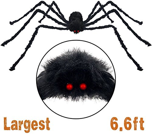 Halloween Giant Spider & 200cm Giant Spider Outdoor Decor Yard Decorations & Fake Large Hairy Spider Props Scary Halloween 6.6 Ft Black -