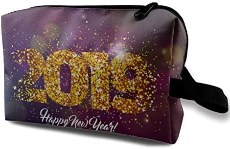with Wristlet Cosmetic Bags Gold Year 2019 Travel Portable Makeup Bag Zipper Wallet Hangbag