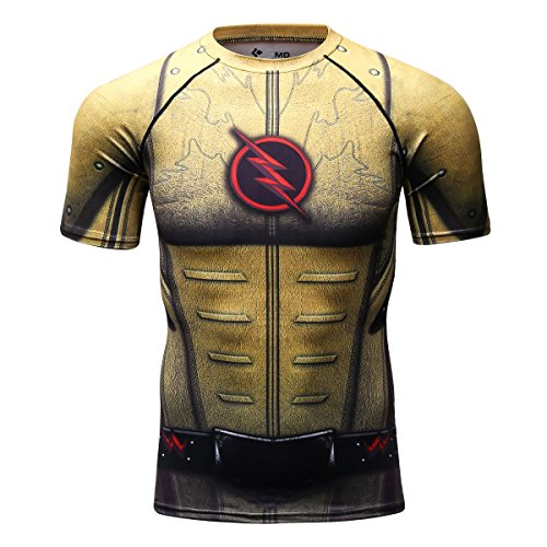 (Red Plume Men's Compression Tight Fitness Shirt, Lightning Armor Sports T-Shirt / 3 Colours (L, Earth Color))