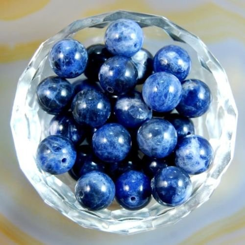 AD Beads Natural Gemstone Round Spacer Loose Beads (6mm 100pcs, Sodalite)
