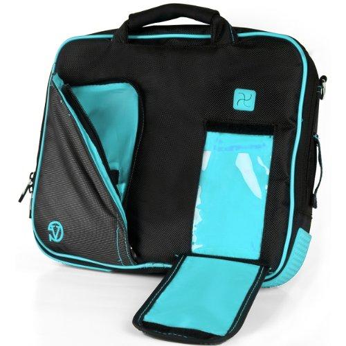 g – BLACK AQUA BLUE Pro Deluxe Shoulder Messenger Carrying Bag for Lenovo Yoga 2 11' inch Windows Laptop ()