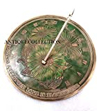 ANTIQUECOLLECTION Flowers Sundial, Solid Brass with Verdigris Highlights 10-Inch Diameter