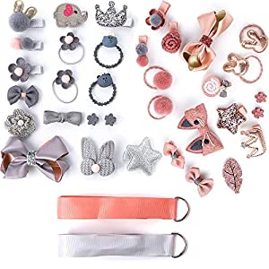 IEIK Baby Girl's Hair Clips, 36 Pcs Cute Hair Bows, Baby Elastic Hair Ties, Hair Accessories, Ponytail Holder Hairpins Set for Baby Girls, Child, Toddlers, Assorted Styles (Light Coral & Grey)