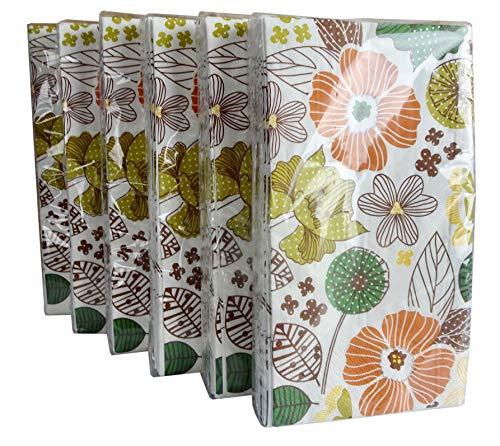 - Orange Floral Paper Guest Towels or Dinner Napkins, 14 Count (Pack of 6)