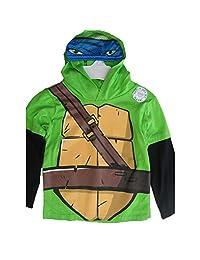 Nickelodeon Little Boys Green Black Ninja Turtles Print Hooded Shirt 4-7