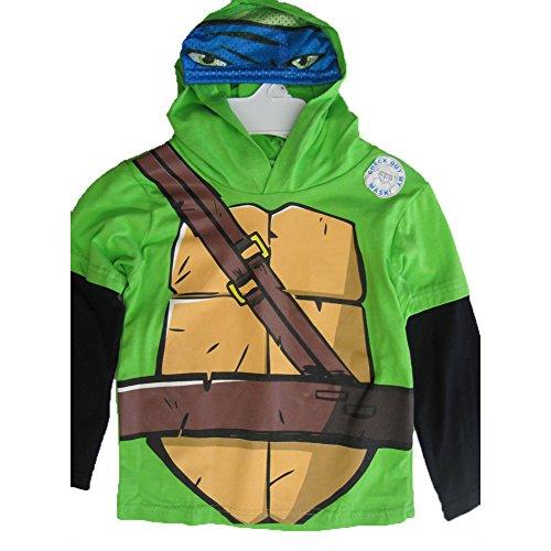 Nickelodeon Little Boys Green Black Ninja Turtles Print Hooded Shirt - Ninja Green Turtle Leggings