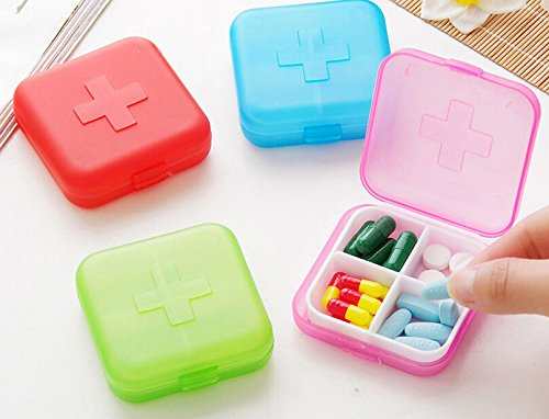 4PCS Portable 4 Slots Capsules Cross Pill Case Box ,Random Color (Trinket Jewelry Pill Box)