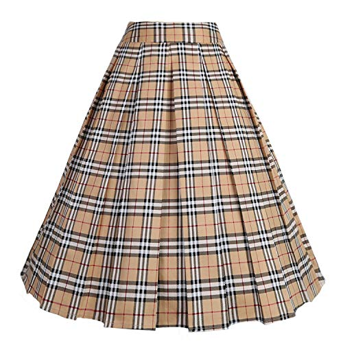 Wear Plaid Skirt - Dressever Women's Vintage A-line Printed Pleated Flared Midi Skirts Khaki-Plaid Small